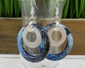 Industrial Art Circle Earrings.  DOUBLE-sided.  Recycled Soda Can Art. Dangle & Drop Earrings. Hoop Earrings.