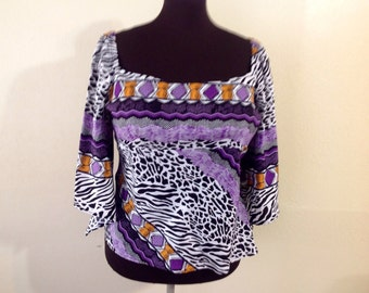 Ethnic Tribal African purple white top plus size