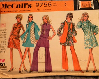 McCall's Pattern 9756 size 7 bust 31 Misses' and Jr. Dress, Vest, Pants, and Scarf Pattern (P145)