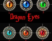Dragon Eye Party Pack of SIX Steampunk Pendant Necklaces or Zipper Pulls Your Choice of Design
