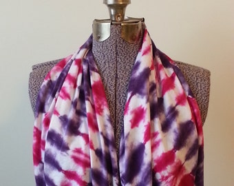 Tie Dye Infinity Scarf -- Ultra Violet and Fuchsia