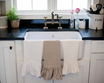 Ruffled Linen Dish Towel