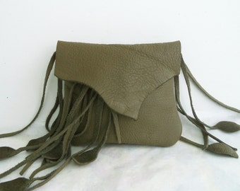 olive green leather handbag, hip bag, belt bag with leaf fringe by Tuscada. Made to order .