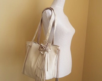 cream white leather handbag tote with flower and fringe large by Tuscada. Ready to ship.