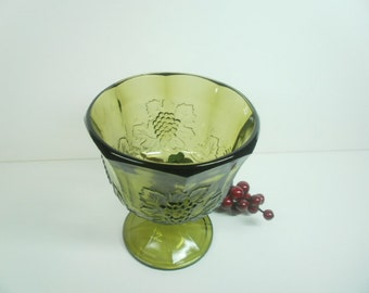Vintage Planter Harvest Green Glass by Colony Glass