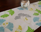 Floral Table Runner, Modern Table Runner, Green Table Runner, 16x54 Inch Table Linen, Blue Floral Table Runner