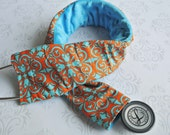 Padded Stethoscope Cover - Nurse, Doctor, Med Student, Medical Assistant - Nurse Gift - Teal and Orange Graphic with Teal Minky