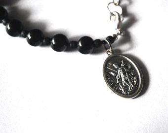 Saint Florian Mens Rosary Bracelet Black Onyx Tigers Eye Turquoise Bracelet Male confirmation Gift St Florian Catholic Gemstone Bracelet.