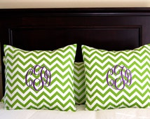Monogrammed Euro Sham Pillow Cover Monogram Pillow Chevron Pillow Bedding Throw Pillow Cover 24 x 24 Bedding Dorm Decor Teen Room Decor