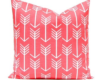 Coral Pillow Covers - Coral and White Arrows - Throw Pillow Covers - Decorative Pillows - Nursery Decor - Coral Bedding - Coral Cushions
