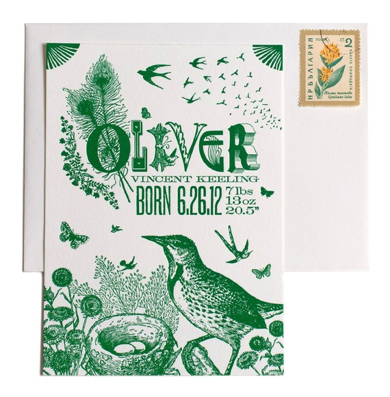 Bird Lovers Custom Design Letterpress Birth Announcements