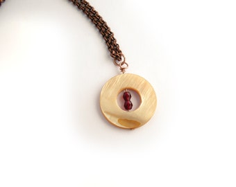 Shell pendant, mother of pearl necklace, layered necklace, minimal jewelry, donut pendant