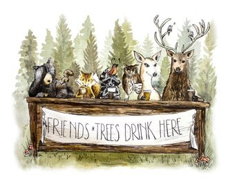Cheers to the Forest - Woodland Animals Party Bar Beer Watercolor and Pen and Ink Print illustration