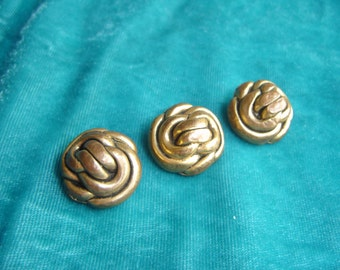 "Vintage ""Rope Like"" Gold Tone Metal Buttons ~ Set of Three 3 ~"