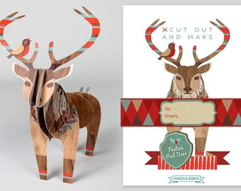 Cut Out and Make Christmas Red Deer