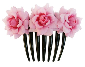 Pink  Rose flower Hair Comb Wedding