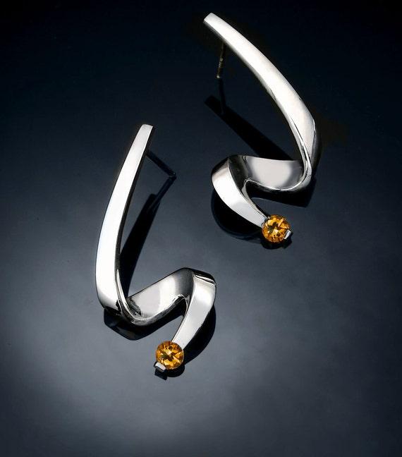 citrine earrings, silver earrings, November birthstone, Argentium silver, dangle earrings, modern earrings, contemporary jewelry - 2380