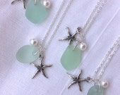 Reserved for J. Starfish and Sea Glass Necklace. Aqua Blue Beach Wedding. Beach Wedding