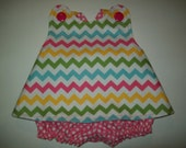 Baby Girl  Rainbow Chevron Pinafore With Bloomers  in Sizes Newborn - 3T