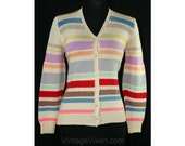 Size 4 Striped Sweater - Cheery Stripes & Hand Knit Wool Cardigan - 1940s Look Spring Jumper - Red Pink Lavender Blue Cream - Small - 41107