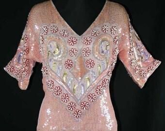 Size 10 Evening Blouse - Haute Bohemian 1970s Heart Motif Sequin Top - Beautiful 70s 80s Pink Formal Shirt - Unique Design - Bust 38 - 39002