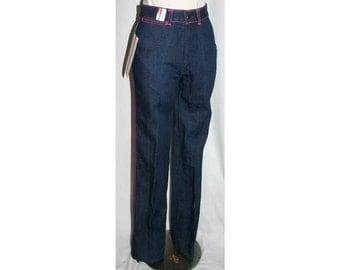 Size 0 Jeans - Retro 1970s Dark Denim Skinny Jean with Hot Pink Arrow Motif - XXS 70s Faded Glory Pants - Waist 25 - NWT Deadstock - 32657-3