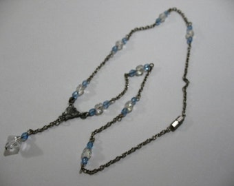 Vintage Art Deco Necklace with Faceted Glass Drop