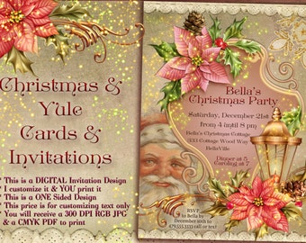 Christmas Card Invitations, Santa Christmas, Victorian Christmas Party, Victorian Santa Card
