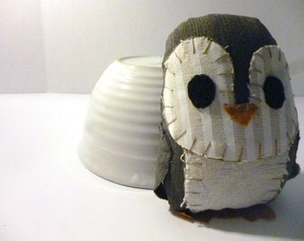 Thomas the Penguin - 5 Inch Stuffed Penguin Made From Salvaged and Re-Purposed Fabric