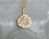 Reserved for Deb - 14k Gold Diamond Pebble Pendant - Wildflower Pendant - Off-Center Daisy Necklace