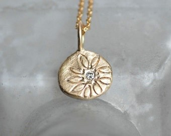 14k Gold Diamond Pebble Necklace - Wildflower Pendant - Off-Center Daisy Necklace - Small Gold and Diamond Pendant