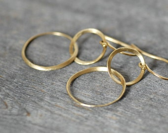 18k Gold Ribbon Earrings - Double Hoop Dangle Gold Earrings - Gold Circle Earrings