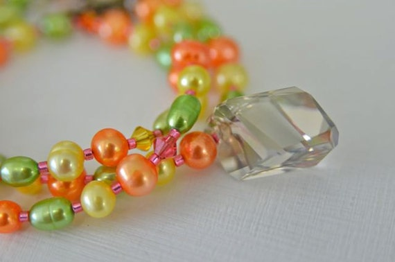 Tropical Pearl and Crystal Necklace with Banana, Mango, Lime and Strawberry colors Handmade in Maine from North Atlantic Art Studio