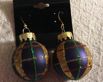 Blue Christmas Bulb Earrings