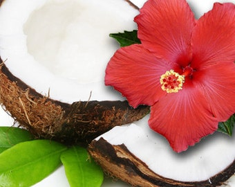COCONUT HIBISCUS - 2, or 4 oz Perfume for Women - Floral Fruity Gourmand Fragrance / Accords of; Coconut, Sweet, Tropical, Vanilla , Milky