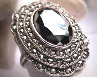 Antique Hematite Marcasite Ring Vintage Art Deco 1920