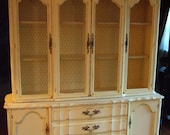 Large French Country Hutch in a Distressed French Country Yellow