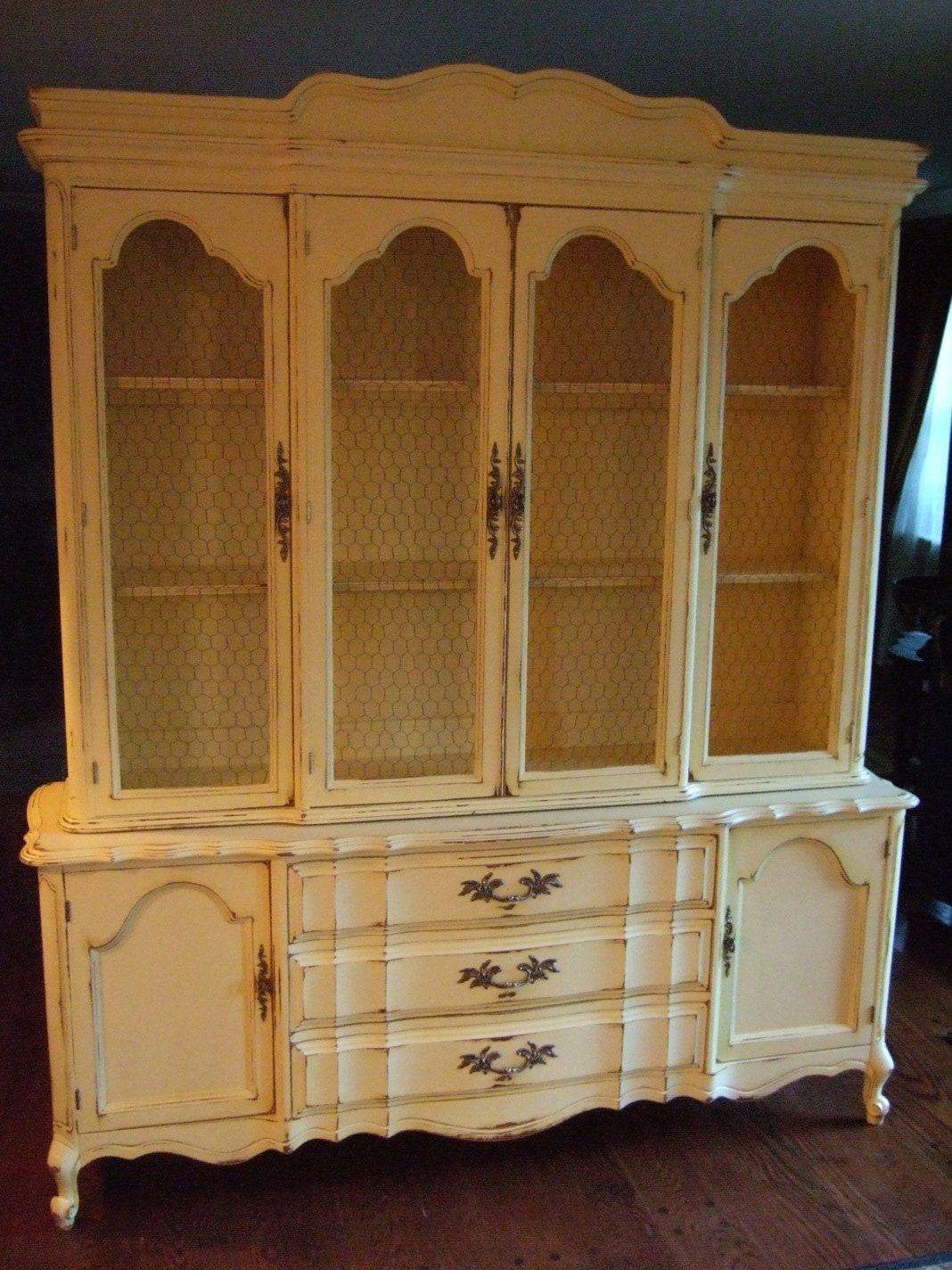 Large french country hutch in a distressed french country for French provincial country