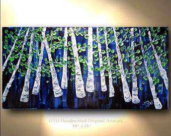 ORIGINAL Landscape Painting 24x48 Navy Black White Green Leaf Birch Aspen Tree Abstract Texture wall decor Artwork Fine art canvas by OTO