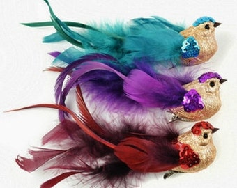 Artificial Birds - Small Fancy Glitter Birds on Clips - Craft Embellishment - Home Decor