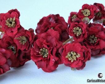 Primroses - Pom Pom Roses in Deep Red - VERY SMALL FLOWERS - Silk Flowers