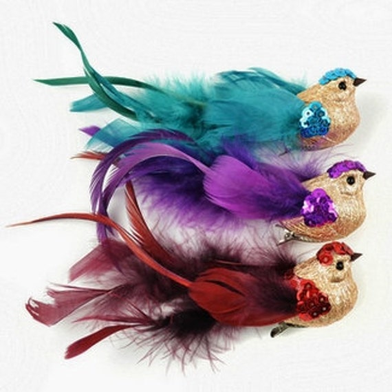 Artificial birds small fancy glitter birds on clips craft for Fake birds for crafts