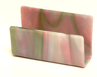 Business Card Holder, Pink and Green Streaky Glass