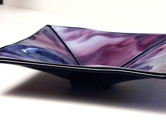 Glass Candy Dish, Purple, Pink, & White, Unique Shape and Form