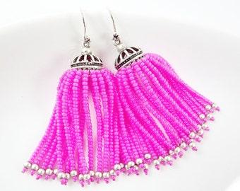 Hot Pink Beaded Tassel Dangly Statement Earrings - Sterling Silver Earwire