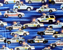 Police Cars Fabric Cotton Material