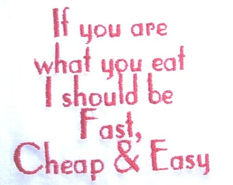 If you are what you eat - embroidered flour sack towel