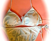 Bride Rhinestone swim / Bride to be bling bikini / bridesmaid bikini / 2 piece string bride swimsuit / white bridal bikini / bathing suit