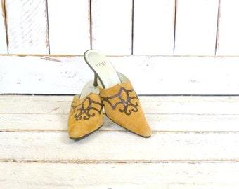 Vintage tan camel suede leather high heel mules/pointy suede western heels/suede shoes