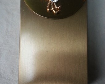 Vintatge Dead Stock Cigarette Case Gold Tone Metal and Rhinestone 1950s Wallet Accessory Flip Top Original Box